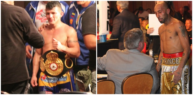 At the conclusion of their bout, we see Oscar Escandon leaving the ring with his entourage. Unlike Escandon who was joyful about his win, Tyson Cave hung around to have a discussion with Teddy Atlas who announced his displeasure with the judges' decision favoring Cave's opponent Escandon.