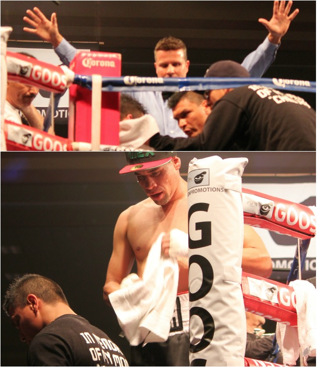 After quitting on his stool, Luis Grajeda and his support staff leave the ring area.