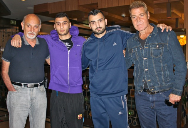The boxer, Vatch Martirosyan and his support to include his father, brother Vane and his coach Joe Goossen (r). Photo: Jim Wyatt