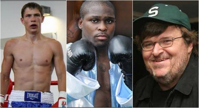 In Bout #2 of the jr. middleweights it will be Stanyslav Skorokhod of Slavutich, Ukraine (l) facing Michael Moore of Cleveland, Ohio (r). Not to be confused with the producer, writer, social activist.