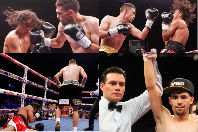 (top, left) Javier Mendoza lands a right cross to the head of his oppnent Mauricio Fuentes of Columbia.