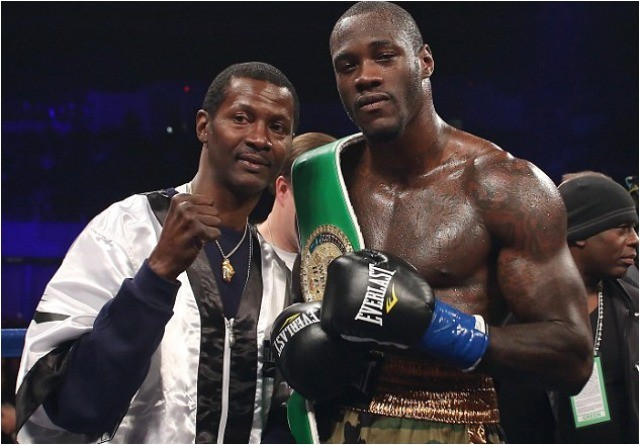 The new WBC Heavyweight Champion of the World, Deontay Wilder poses for a photo with his trainer Mark Breland, the two time WBA Welterweight Champion plus TV and Movie actor.