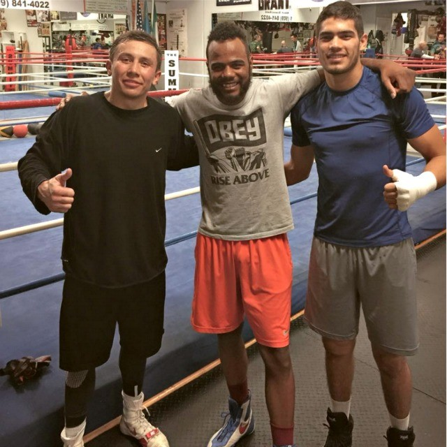"Training at The Summit in Big Bear Lake, CA, Paul Mendez tells friends back home: ""Great sparring partners. Everyone here is from somewhere else ... Cuba, France, the Ukraine, Germany, Mexico. Myself and one other guy are the only Americans. Gennady G. Golovkin is here."""