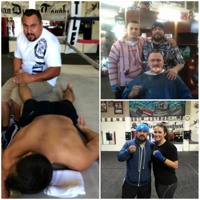 "Joe Vargas (sitting) is accompanied by younger brother Adrian and ""El Majestro"" del South Bay Barbershop, his cousin George Vargas. Joe Vargas: ""Big thanks to my cousin for the great hair cut. I want to start the year hard at The Arena gym."" Arlette Scott: ""My last workout of 2014 and one of my last workouts with Coach Joe. I've had too many coaches to even count. But coach joe will always be my 1 and only boxing coach! I'm going to miss you. You've helped transform me mentally and physically and for that I can never thank you enough."" Arlette Scott: ""Coach, manager, promoter, trainer, husband, chef, and now... Physical therapist!"" Milan Gallese B: ""He's a one stop shop."""