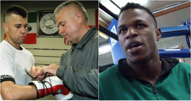 """In Bout #4 of the jr. Middleweights you have Vito """"Casper"""" Gasparyan of Glendale, CA (l) squaring off with Simeon """"Candyman"""" Hardy (r) of Brooklyn, New York by way of Guyana."""