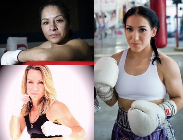 The top three jr. Flyweights in the U. S., (clockwise, starting top, left) Maria Suarez, Sindy Amador and Jolene Blackshear.