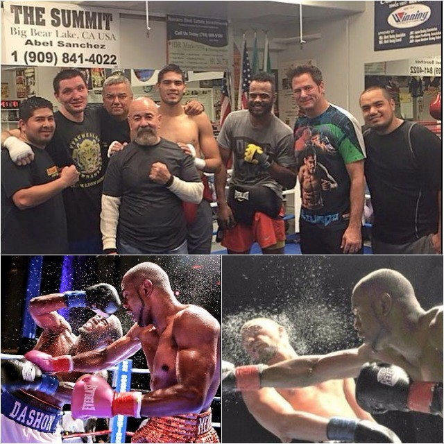(top photo) Paul Mendez takes a moment away from his training for a photo with buddies at The Summit Boxing Gym located in Big Bear Lake, CA.