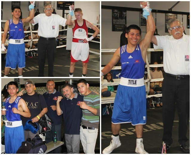 (photo, right) The joyous Alexis Villareal has his arm raised in victory by referee Will White. All photos: Jim Wyatt