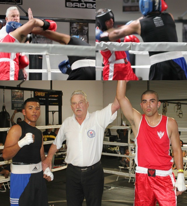 (photo, bottom) At the conclusion of their bout we see Ulises Zumaya having his arm raised in victory by referee Rick Ley.