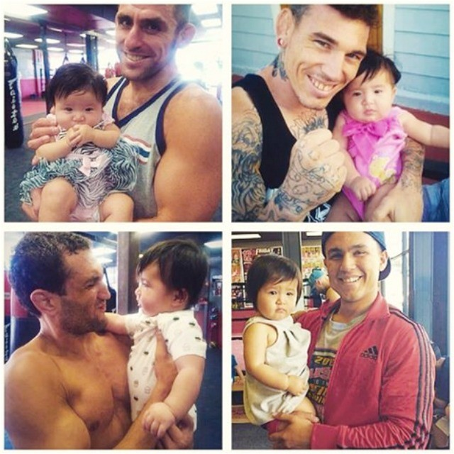 """They say there's a baby in El Cajon, who when picked up and held in someone's arms, guarantees victory in their upcoming fight. It has now worked four straight times for the following fighters (l to r, top to bottom) Bellator MMA star Nejjar, Andy Murad, Cris Bruno and now Gabriel Hernandez. Some have suggested, """"It's time to market her powers."""""""