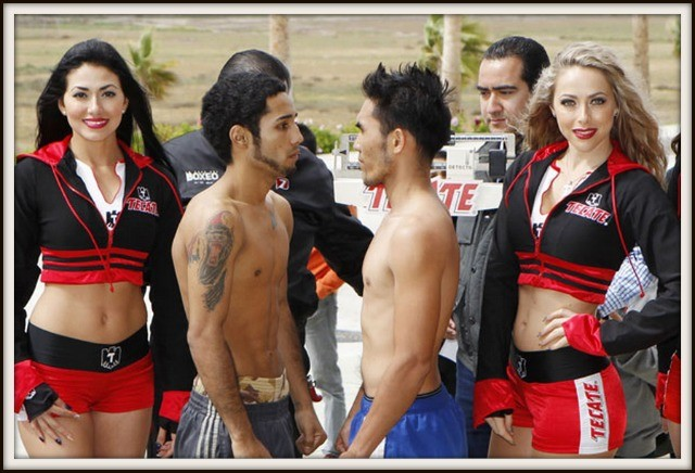 "Luis Nery (l) of Tijuana poses for the faceoff with his opponent Jether ""The General"" Oliva of the Philippines."