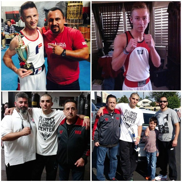 (photo, top, left) shows well respected coach Joe Vargas of The Arena with his fighter Charlie Brown.