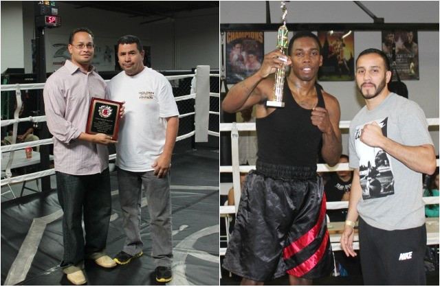 "On hand at the Intensity MMA Gym on Saturday were (photo, left) trainer/promoterBobby Lopez here presenting Dr. Brenton Wynn a plaque to  thank the good doctor for his volunteer help to keep the competitors safe at Saturday's show and the many other shows he has attended. (photo, right) We see pro boxer Chris Martin who was on hand to present the trophy for ""Outstanding Boxer of the Show to super middleweight Robert Lutrique   respected trainer Bobby Lopez (r) presenting Dr."