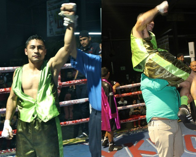 (photo right) one of the came up into the ring and lifted Fabian up on his shoulders.