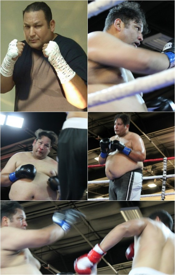 """In Bout #2, all eyes were on Michael Robinson, head boxing coach at the Encinitas Boxing & Fitness Club, as he took on the 6'6"""" Rafael Rios, also from San Diego."""