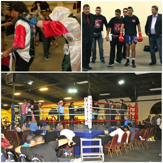 The combatants in Bout #6, the Main Event, Elias Espadas (top, right) and Adan Leal (l) make their ring entrance.
