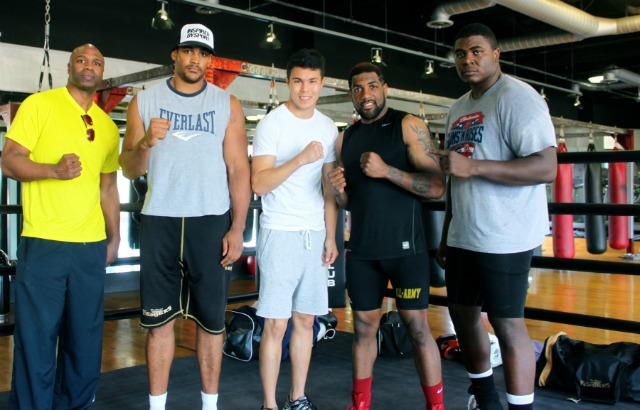 On the far right we see Stephan Shaw who posed for this photo with his sparring mates at The Boxing Club