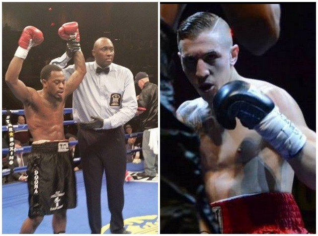 They're calling it the upset of the week as we watch the referee raise Jamell Tyson's arm to signify his victory over Alan Gotay (r).