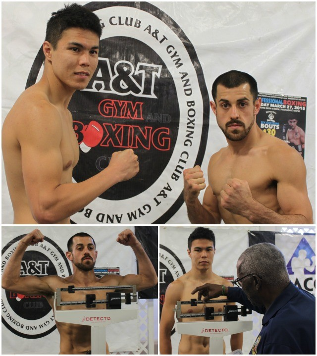 The question in the Brian Nevarez (r) versus Daurend Niyazbayev (l) bout is whether Nevarez, the brawler can get in close.