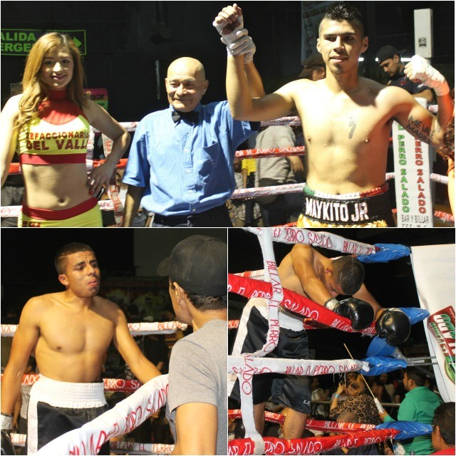 (photo, top) At the conclusion of Bout #13, Miguel Martinez (r) has his arm raised in victory by referee Juan Manuel Morales Lee raises the