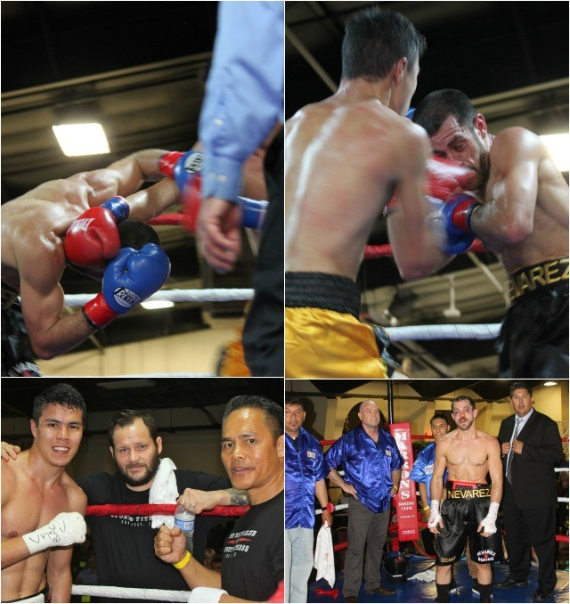 In Bout #3, it was Dauren Niyazbayev (gold trunks) coming away with an unanimous decision victory over Brian Nevarez of the Rhino's Boxing Gym in Vista, CA.