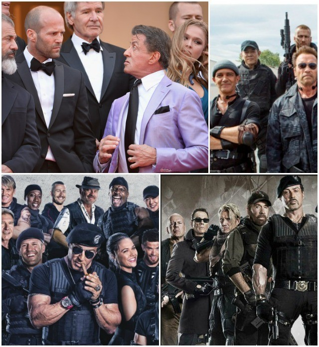 The current dependable crew includes: (top row) Jet Li, Glen Powell, Kellan Lutz, Director Patrick Hughes, Rhonda Rousey, Victor Ortiz, (second row) Dolph Lundgren, Randy Couture, Jason Statham, (front) Antonio Banderas, Arnold Schwarzenegger, Sylvester Stallone, Wesley Snipes.