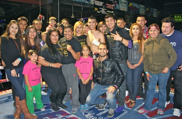 Before leaving the facility, family and friends of Miguel Martinez Jr. came up into the ring for a group photo. Photo: J. Wyatt
