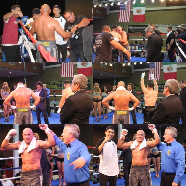 "In the battle of attrition, San Diego's Ernesto ""Chato"" Martinez, a boxing instructor at The Arena in Point Loma, outshines Jose Alvarez."