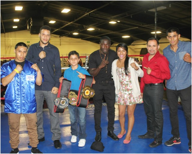 During intermission, some of the top boxers in the sport (l to r) were asked to come up into the ring and be acknowledged.