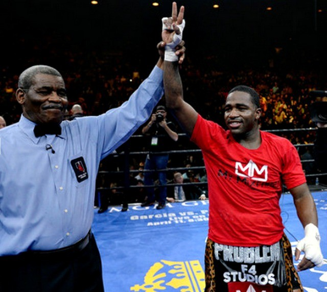 Screen shot 2015-03-09 at 1.Broner has his arm raised in victory by veteran refereeByrd