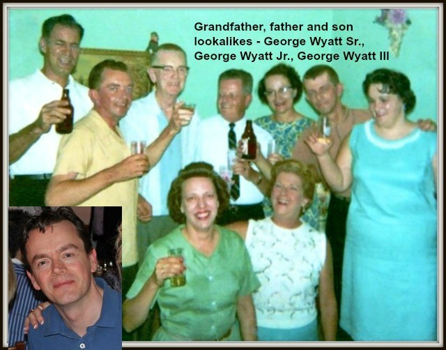 In the family photo, George Wyatt III (bottom, left) is directly under his father, George Wyatt Jr. who's father George Wyatt Sr. who is wearing glasses and is standing next to him on the right.