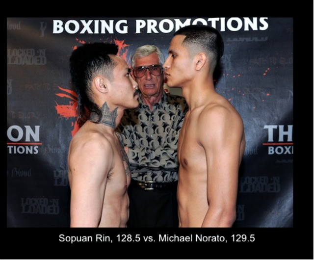 All photos from today's weigh-ins were taken by Carlos Baeza from Thompson Boxing Promotions