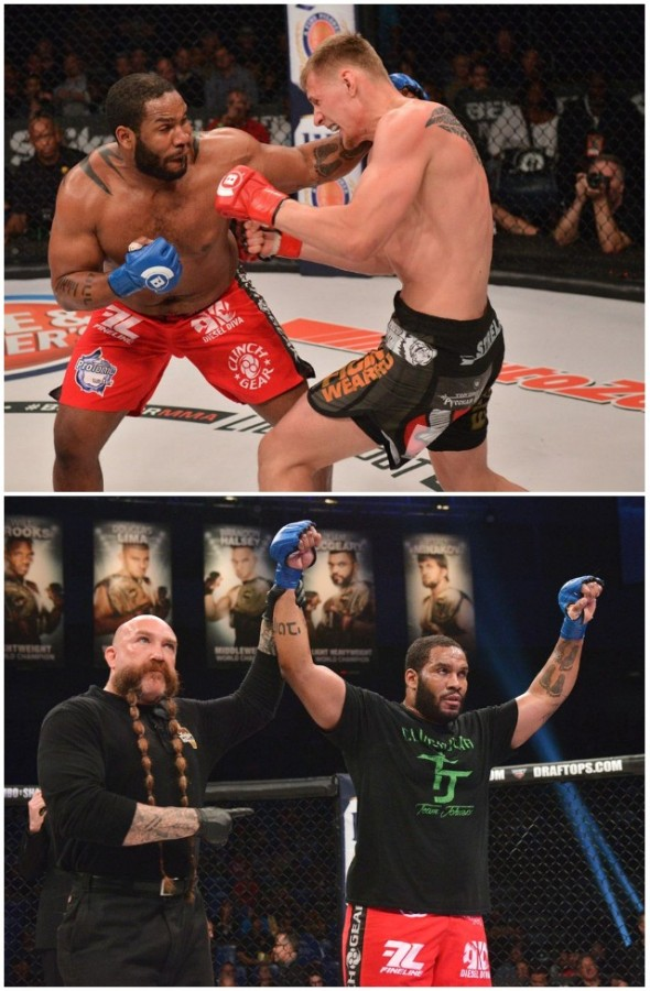 Bout #6 was a squeaker between Tony Johnson (9-2) and Alexander Volkov (24-5). Two judges, Mark Smith and Marcos Rosales had Johnson winning the split decision victory with scores of 29-28 while the third judge, Michael Bell had Volkov winning 29-28.
