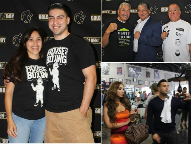 (l) The owner of the House of Boxing, David Barragan and his special lady pose for a photo. (top, right, left to right) Carlos Barragan Sr., well known boxing manager Frank Espinoza and trainer Oscar Molina pose for a photo. (below) Frank Espinoza Jr. and his lovely wife Gizelle.