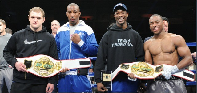 Headed to the Boxcino 2015 Tournament finals are (l to r) heavyweights Andrey Fedosov and Donovan Dennis, jr. middleweights John Thompson and Brandon Adams.  Photo: Emily Harney/Banner Promotions