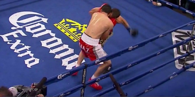 Petr Petrov, caught off balance while throwing a wide left to Diaz's midsection, was shoved rather than punched and as a result lost his balance and touched his glove to the canvas. The referee ended up calling it a knockdown.