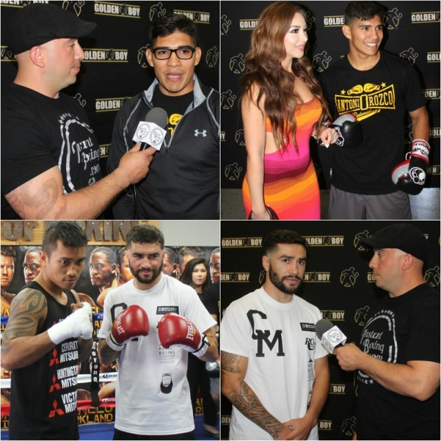 (top, left to right) Antonio Orozco is interviewed by a gentleman from Instant Boxing.com, Orozco poses for a photo with Gizzelle Espinoza. (bottom, l to r) Mercito Gesta and Carlos Molina pose for photos. Photos: Jim Wyatt