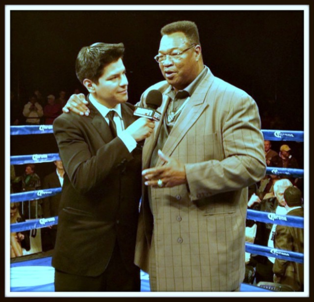"Ring announcer Ray Flores: ""It was a true honor to interview the former heavyweight champion of the world Larry Holmes! What a great person."""