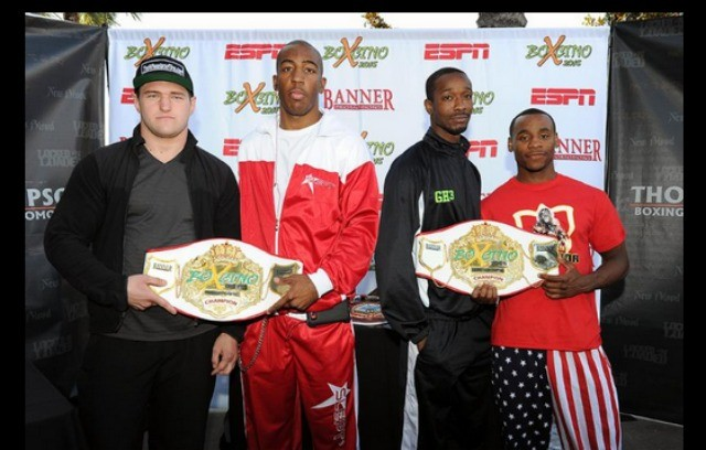 "The headliners of Friday's ESPN Friday Night Fights show in Corona, Calif. (l to r) Andrey Fedosov, Donovan Dennis, John ""Apollo Kidd"" Thompson and Brandon ""Cannon"" Adams. All photos courtesy of: Carlos Baeza/Thompson Boxing Promotions"