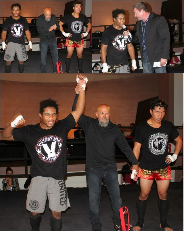 At the conclusion of Bout #7, John Phillips of Victory MMA has his arm raised in victory by referee Jose Cobian after he defeated Danny Hun