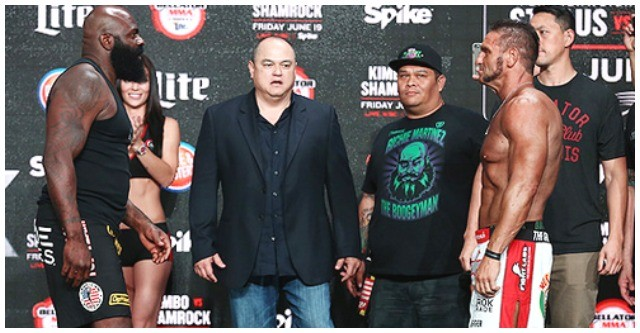 "To the right of Scott Coker, Bellator's CEO is none other than Manolo ""El Huracan"" Hernandez of the San Diego Combat Academy."