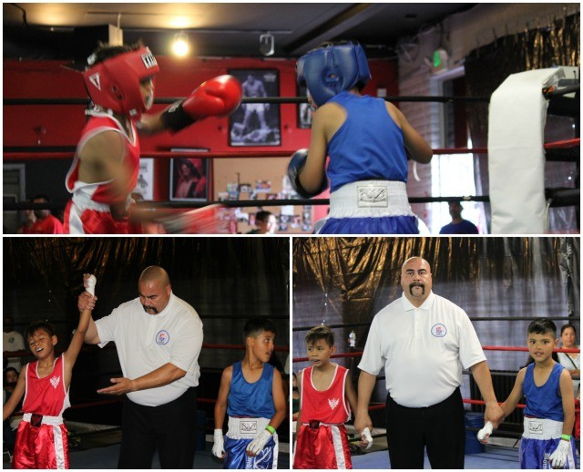 "boxers in Bout #4, 11 year-old Erin Torres (65 pounds) from the host gym, the Alliance Training Center, Chula Vista, Calif. and 10-year-old Jan Carlo ""JC"" Meza"