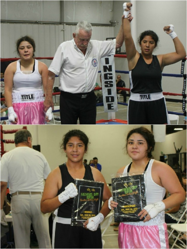 (top) At the conclusion of their bout, the victorious Citlalli Ortiz had her arm raised in victory by refereee Rick Ley.