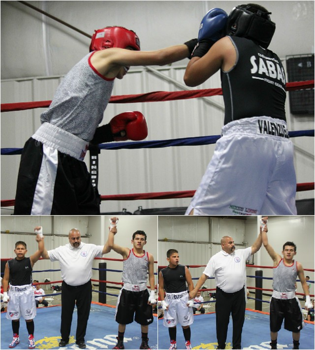 """Santiago Renteria from the San Luis PAL Boxing Club (133.6 pounds) securing the victory over 13 year-old Jacob """"El Tiburon"""" Valenzuela"""