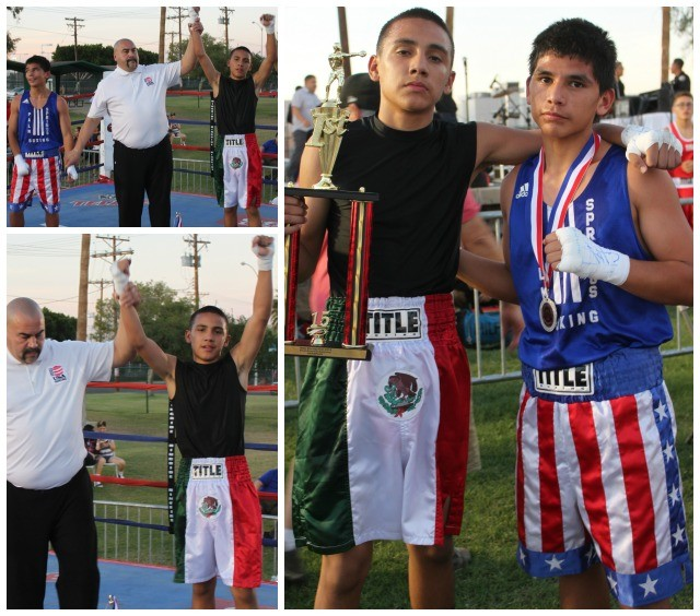 Bout #5 featured a slugfest between 14 year-old Isael Quirate (112.6 pounds) of La Gente eventually gaining the victory over 13 year-old Phillip Romero (111.8 pounds) from Palm Springs Boxing.