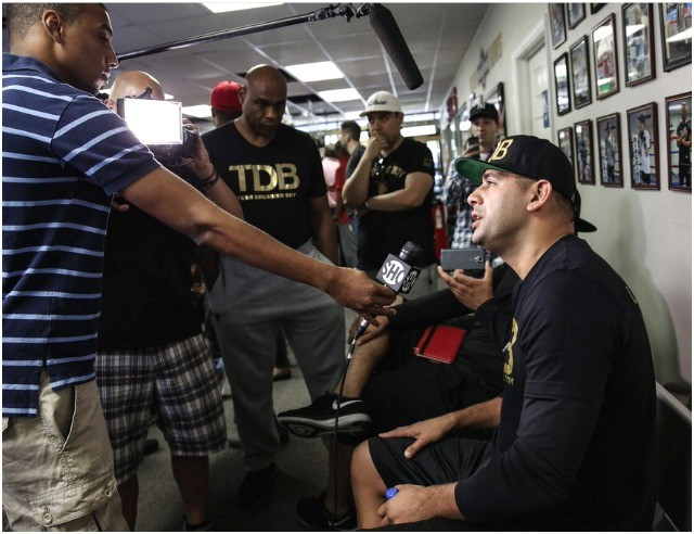 Something new to Eric Molina, getting interviewed by the media. Photos courtesy of Stephanie Trapp/Showtime Boxing