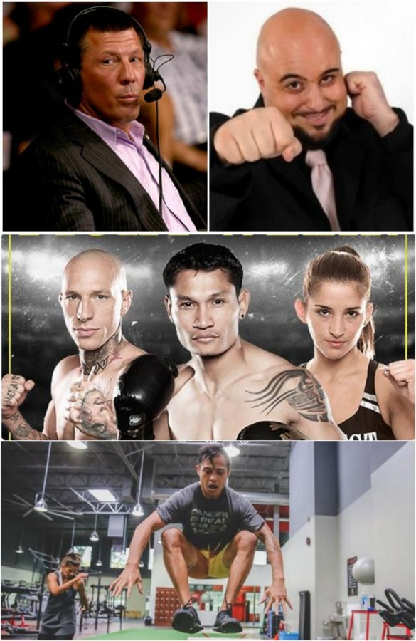 (top) Lion Fight ringside commentators - UFC Hall of Fame fighter Pat Miletich who works well with the comical, loose tongue of Michael Schiavello. (middle, left) Tough guy extraordinaire, Kevin Ross (41-12), who has sought out and fought the best Muay Thai fighters, is returning to competition after having ACL Surgery. (bottom) Tiffany Van Soest (l) who will be defending her women's featherweight world title against Poland's Martyna Krol is shown working out at the same gym as stable mate Marvin Madariaga.