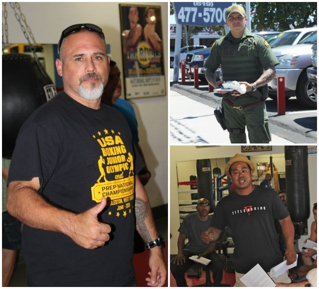 Participants at Saturday's Coaches Meeting included Jason Haines (l) of CYAC, Border Patrol officer Edgar Sandoval of the Bound Boxing Academy and Sherman Sadsarin of Maxwell's Boxing.