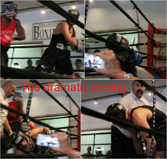 The dramatic ending of the Robert Latrique versus Shayan Etezadi match is shown here as Etezadi is knocked off his feet.