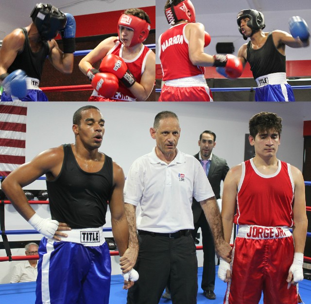 At the conclusion of Bout #7, Brandon Garcia, the eventual winner, and Jorge Marron await the judges' decision.